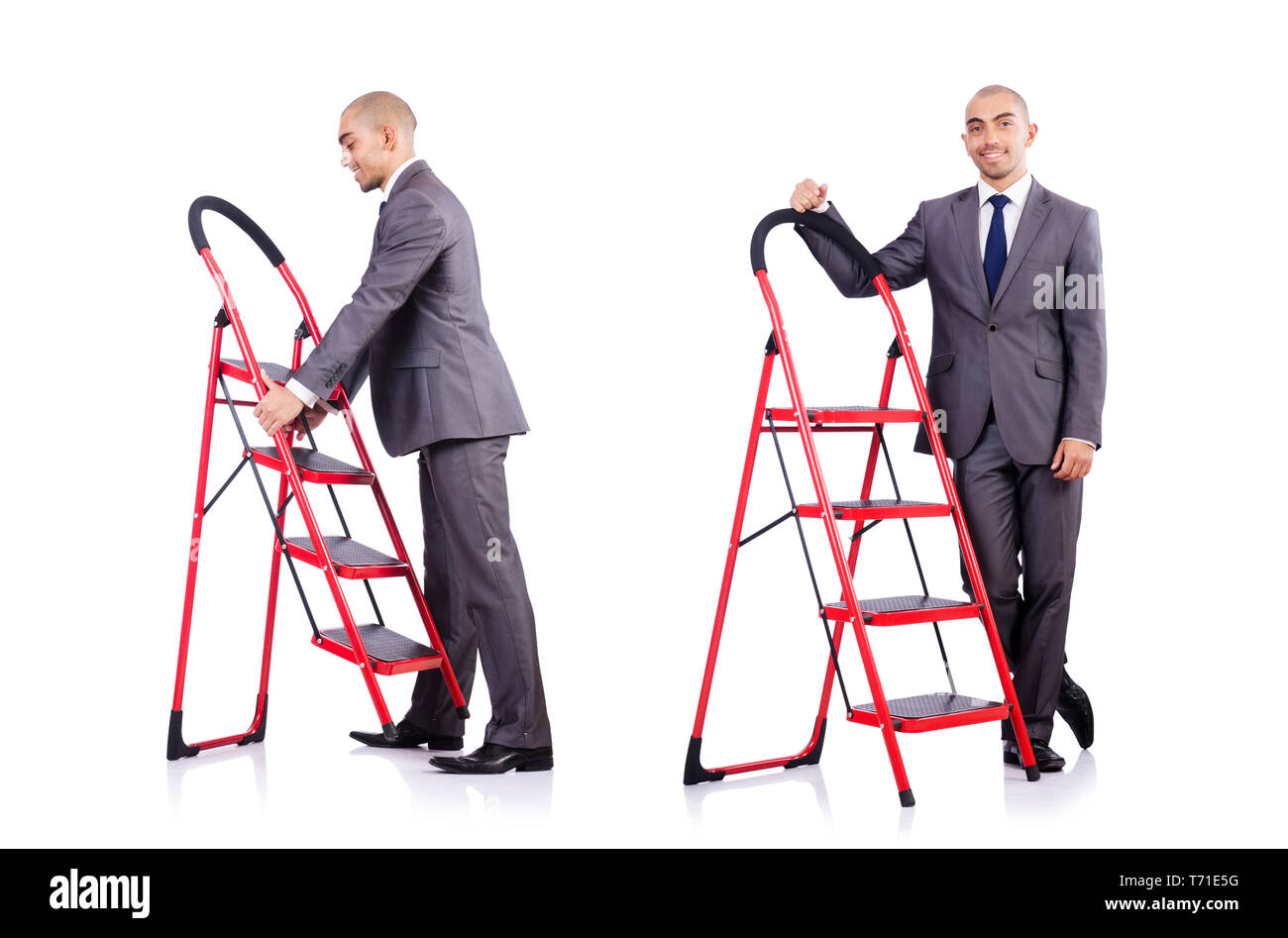 Businessman in career ladder concept - Stock Image