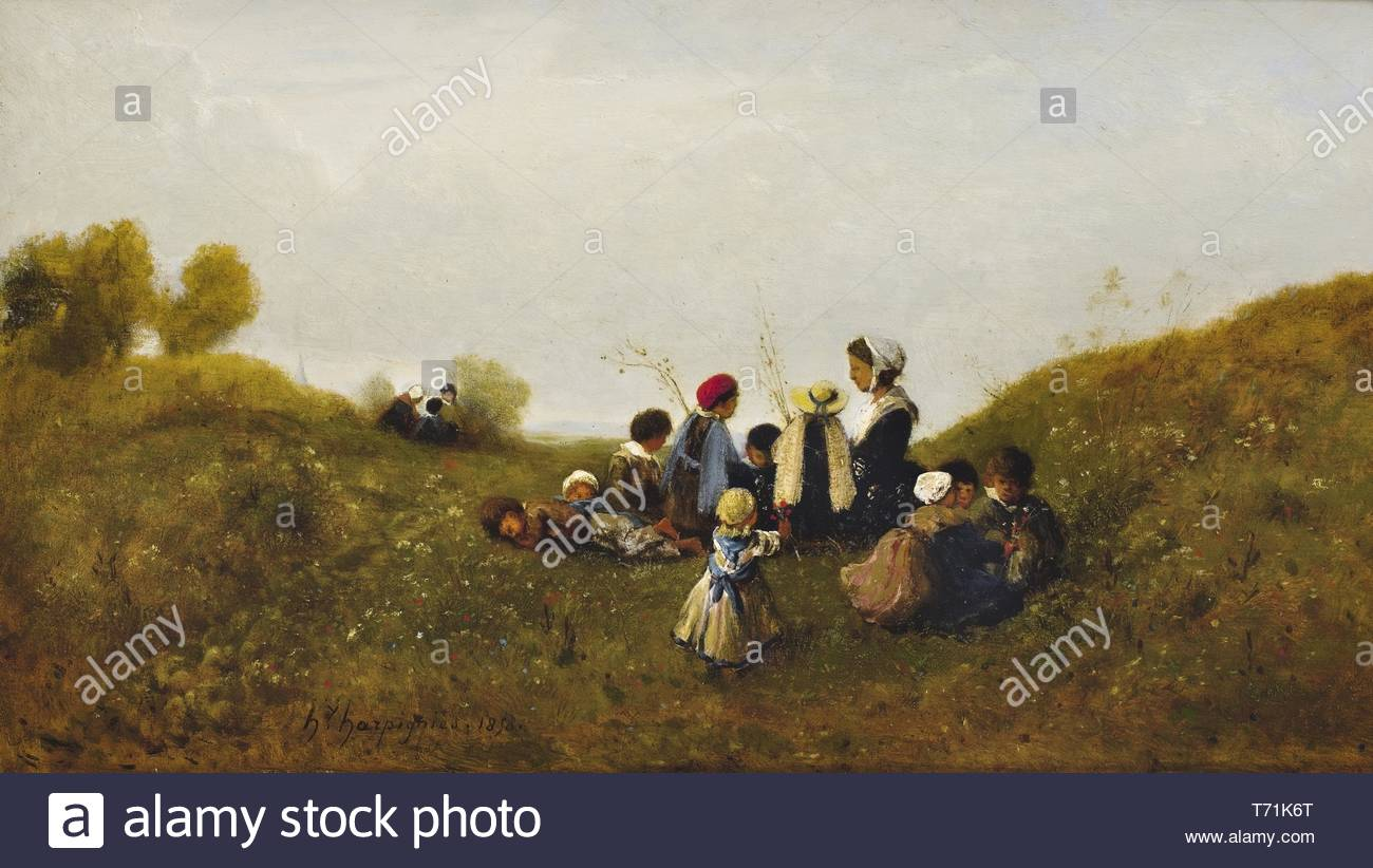 Henri-Jospeh Harpignies-The Children's Walk - Stock Image