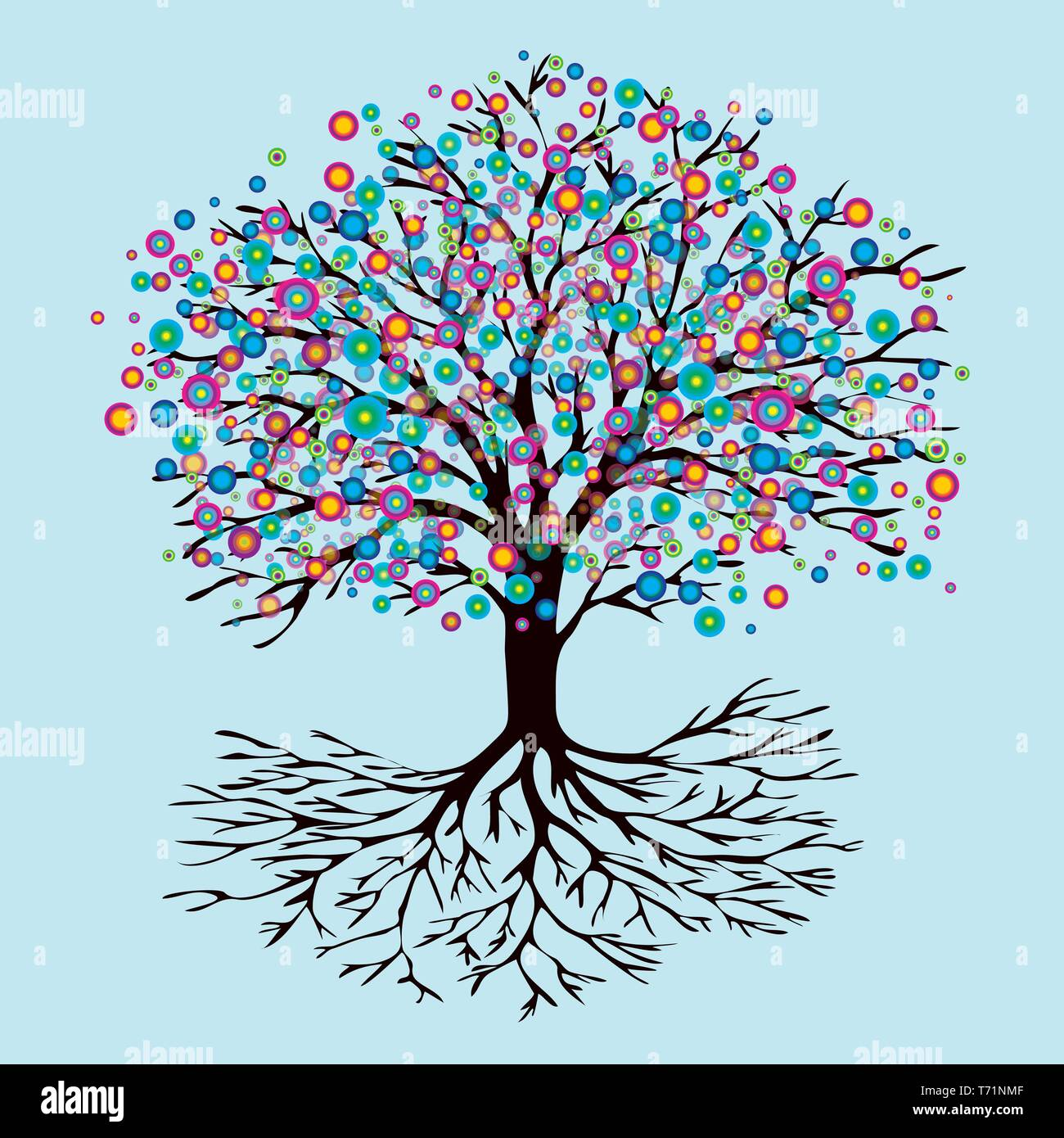 A tree of life with abstract rainbow flowers - Stock Image