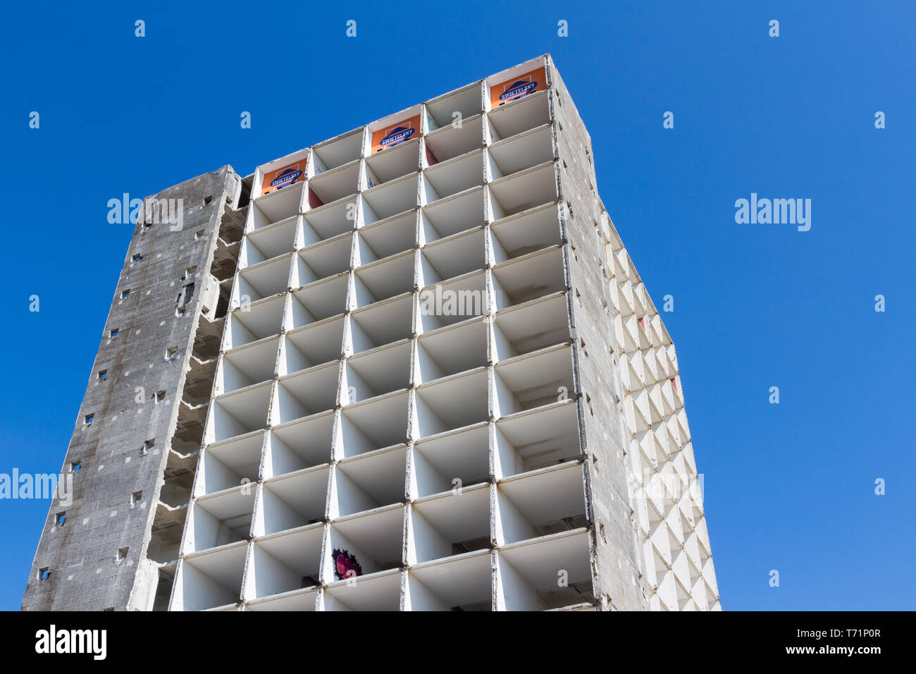 Emptied tall concrete block demolition site in Vienna, Austria, low angle view Stock Photo