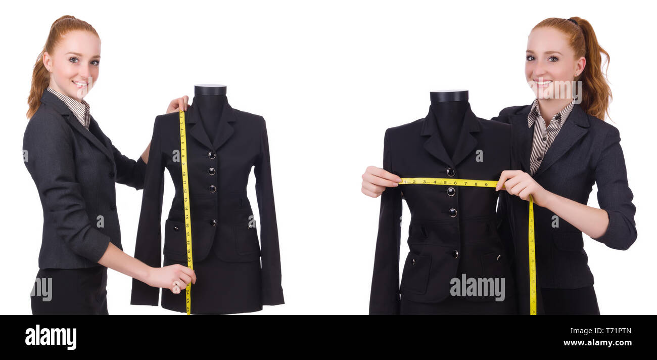 Woman tailor isolated on white - Stock Image