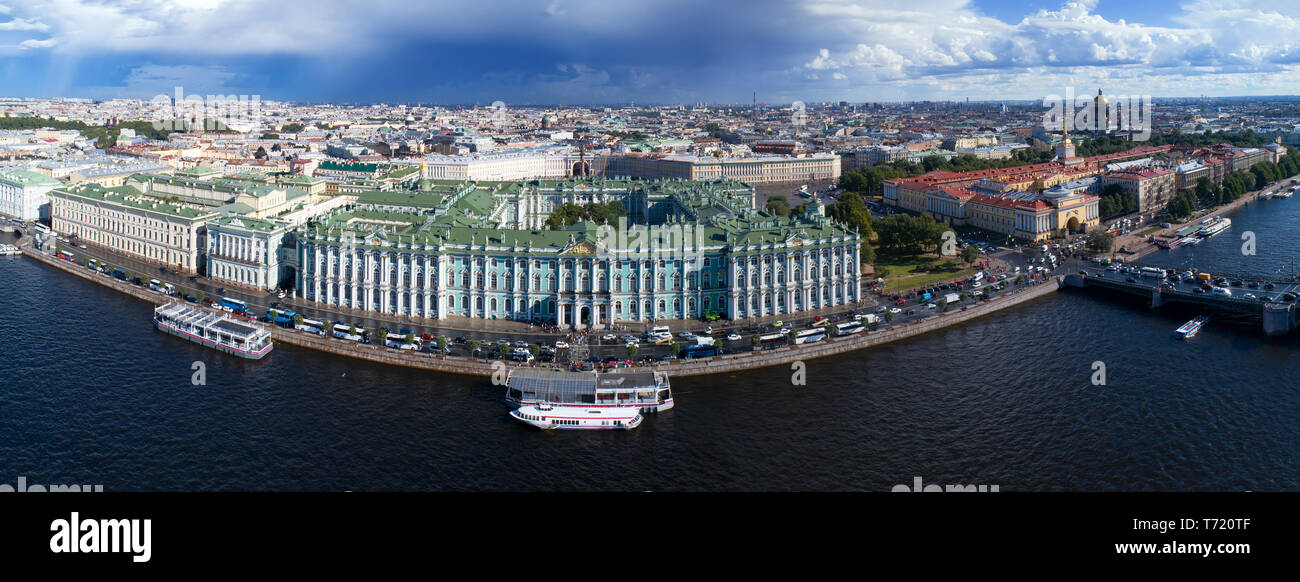 Aerial view of Neva River and Hermitage - Stock Image