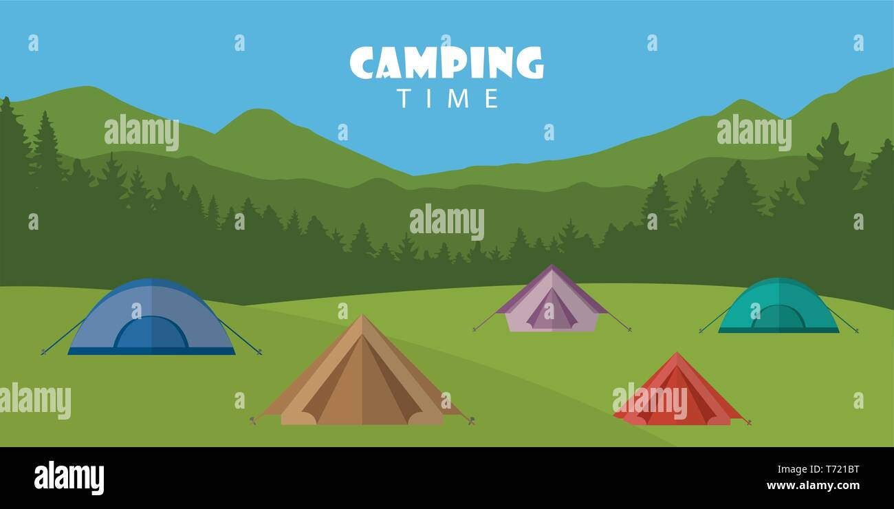 camping time outdoor summer landscape with colorful tents vector illustration EPS10 - Stock Vector