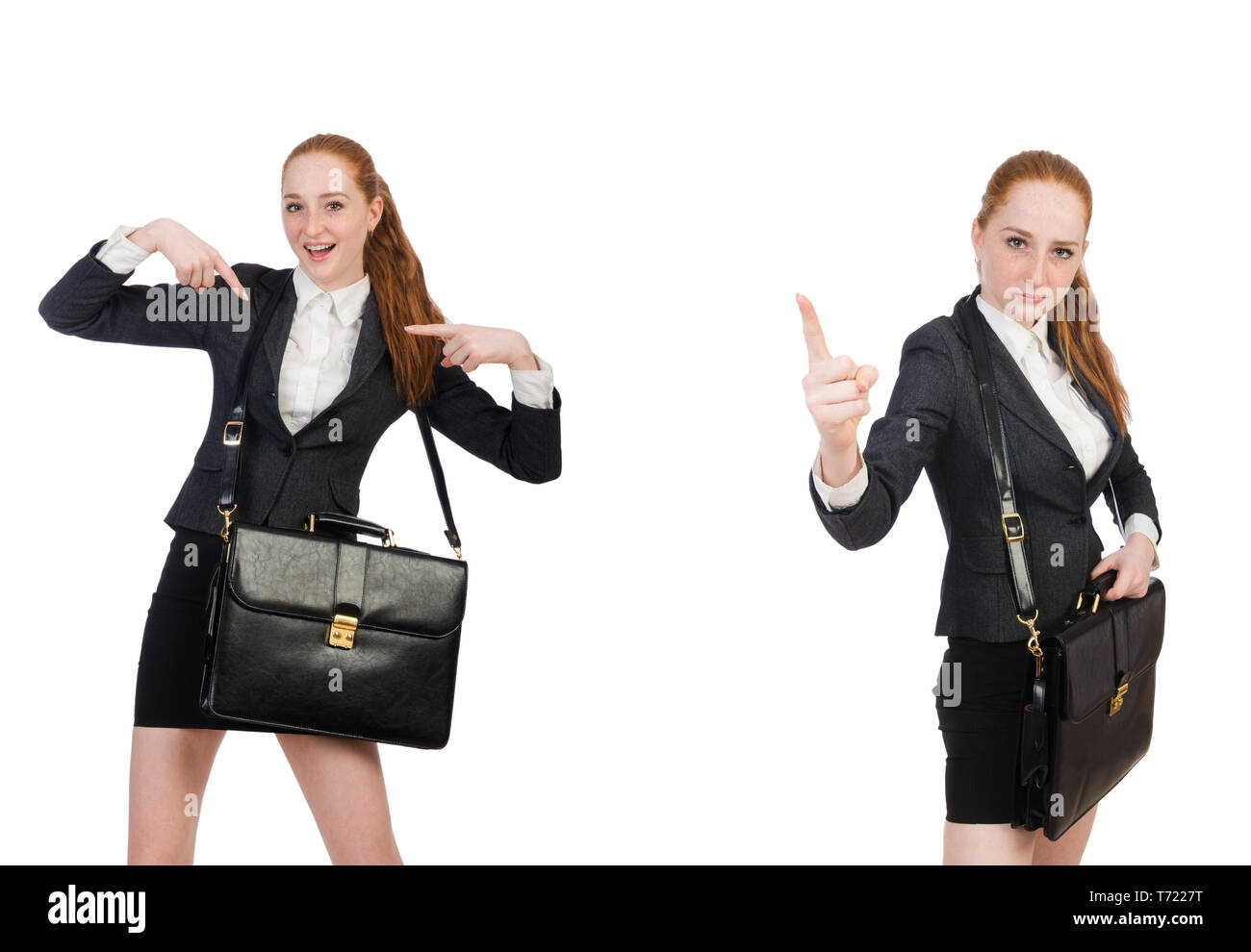 Businesswoman with handbag isolated on white - Stock Image