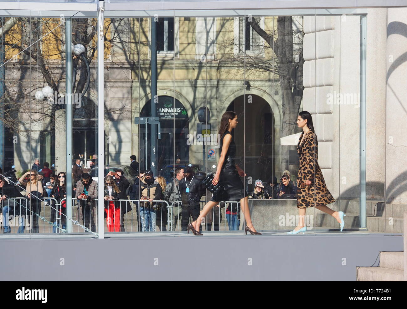 MILAN, Italy: 22 February 2019: Models walk the runway at Bottega veneta fashion show during MFW fall/winter 2019 - Stock Image