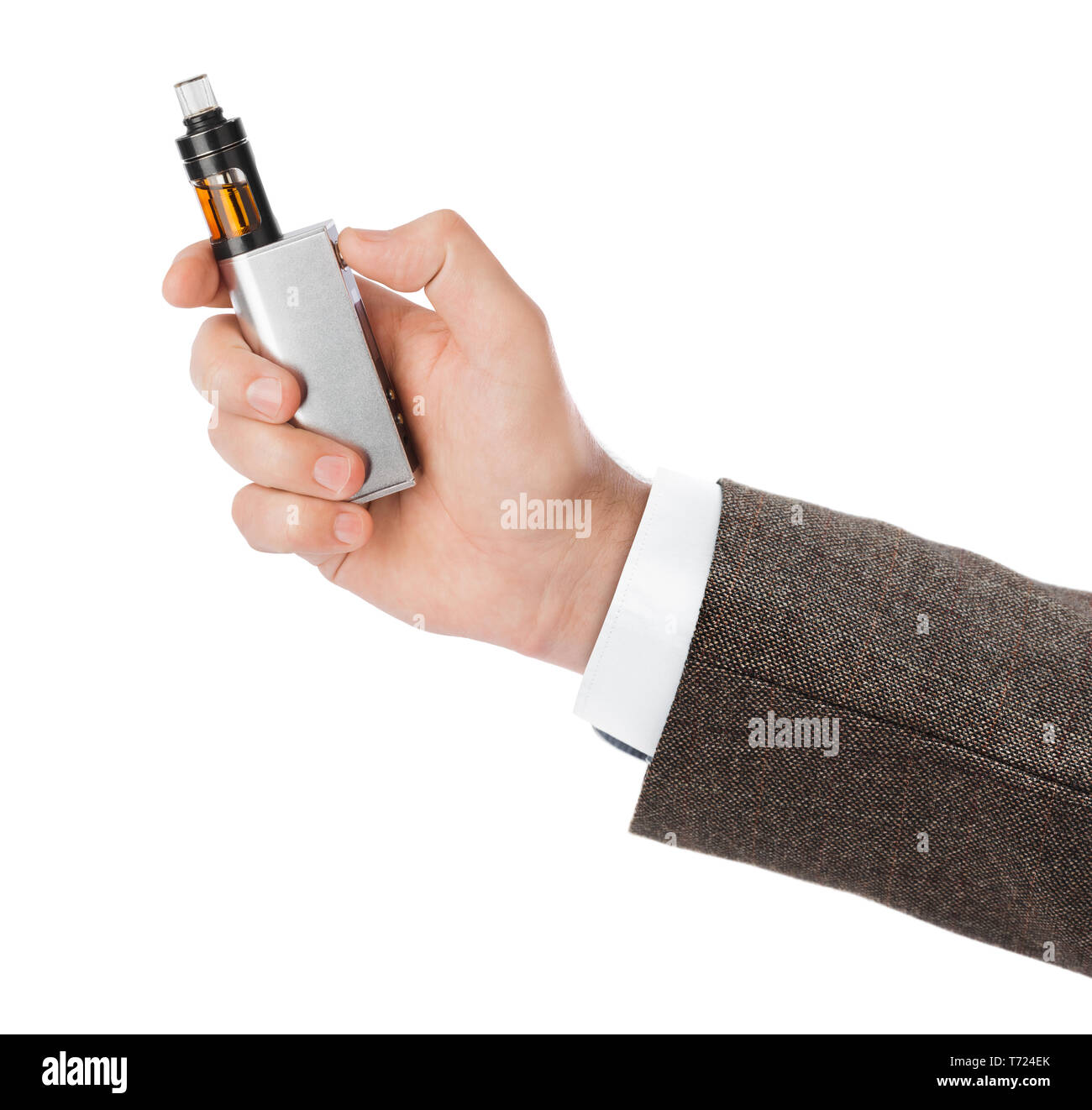 Hand with vape device for smoking - Stock Image
