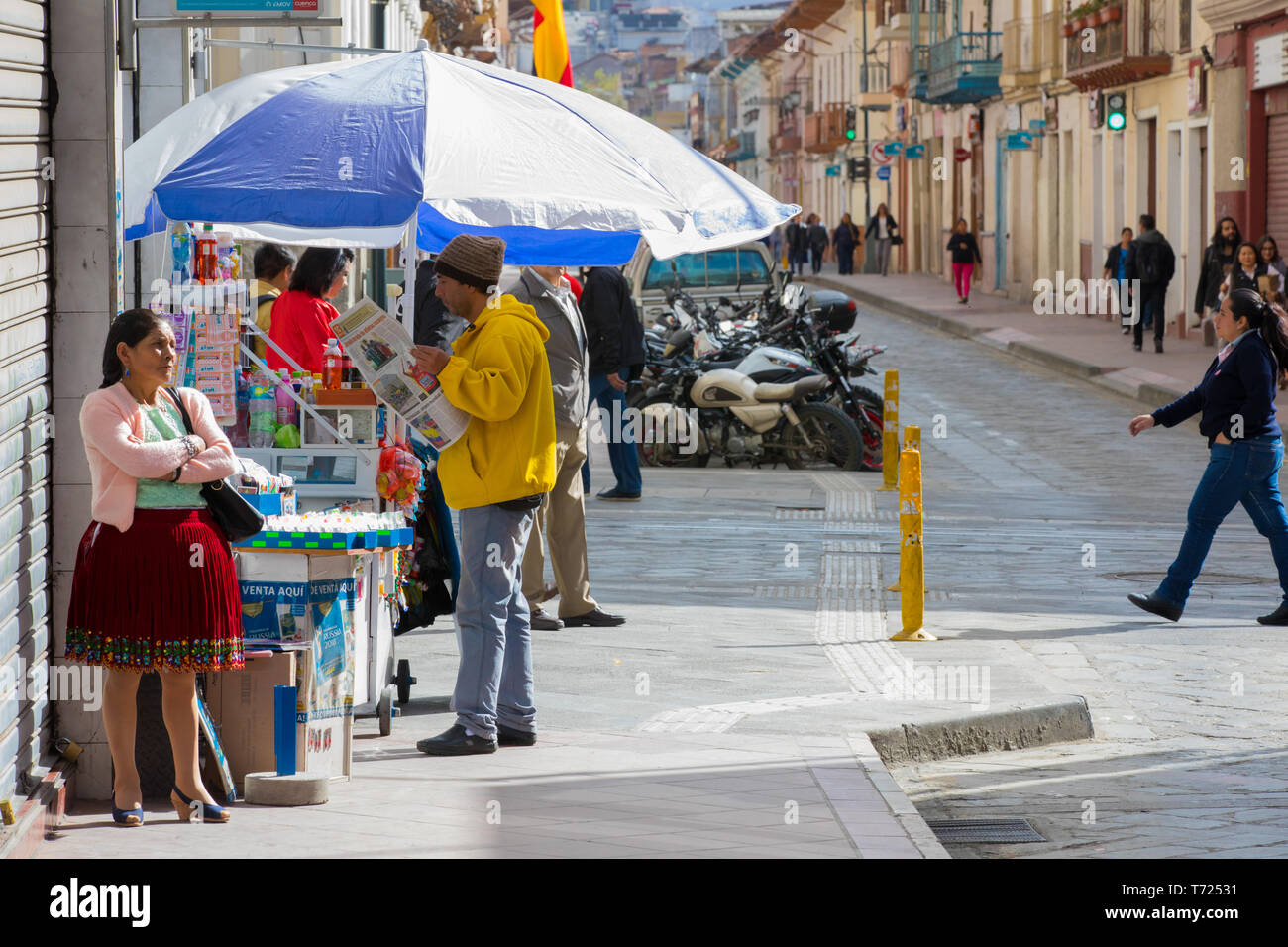 lottery ticket and sodas stall Cuenca Ecuador - Stock Image