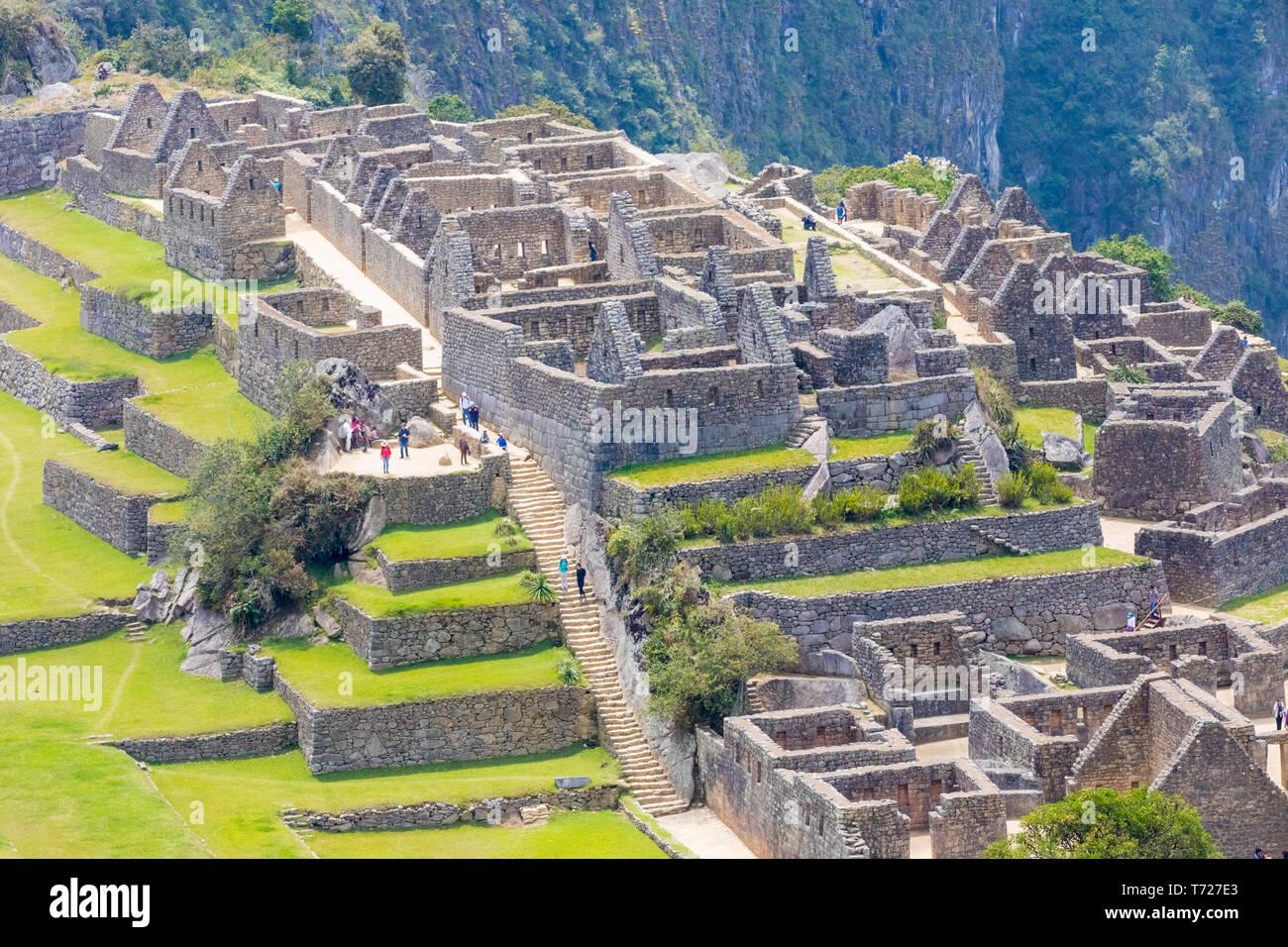 area of the three portals and Acllahuasi Machu Picchu Peru - Stock Image
