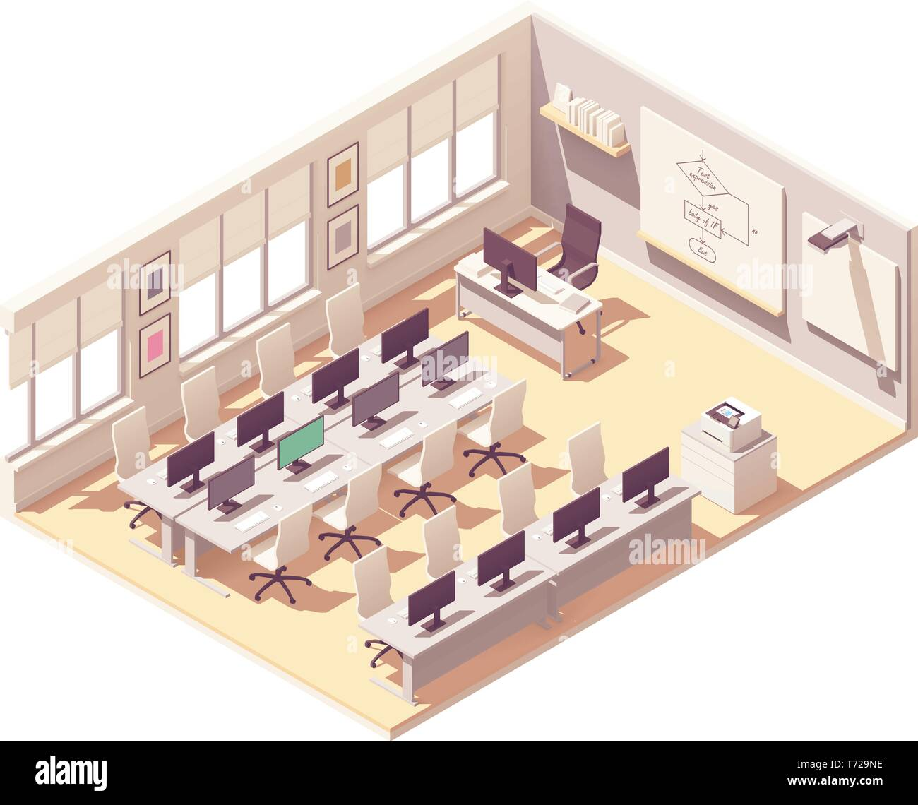 Vector Isometric Computer Lab Classroom Stock Vector Image Art Alamy