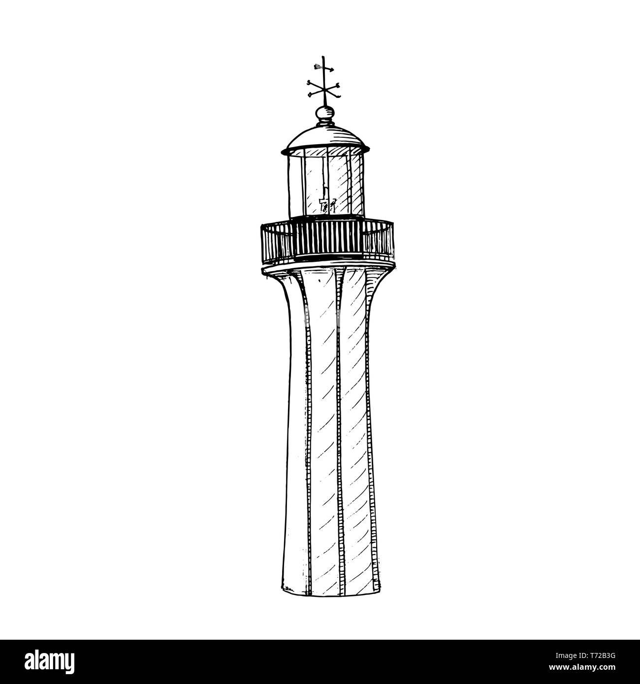 Retro Lighthouse logo template design. illustration. beacon, sea-light, pike, light tower, guiding light, seamark - Stock Image