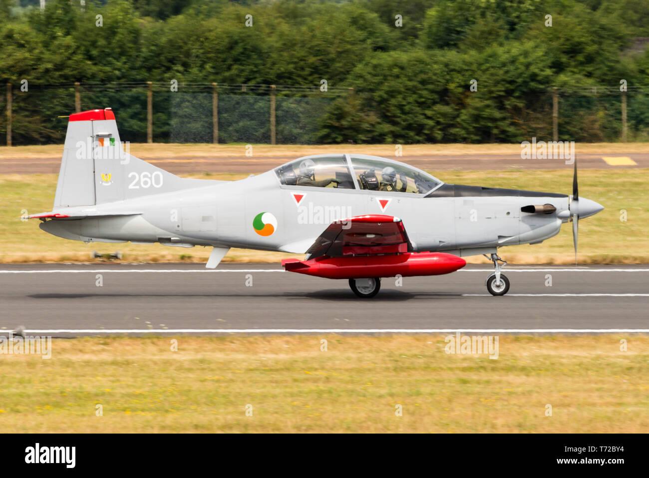 A Pilatus PC-9M advanced trainer aircraft of the Irish Air Corps. - Stock Image