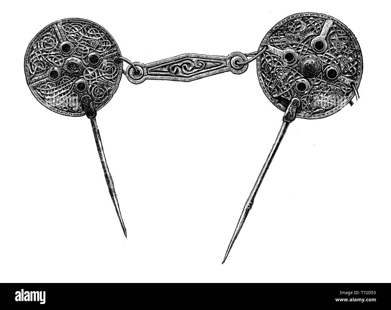 Decorative celtic silver nails Irish at the british Museum - Stock Image