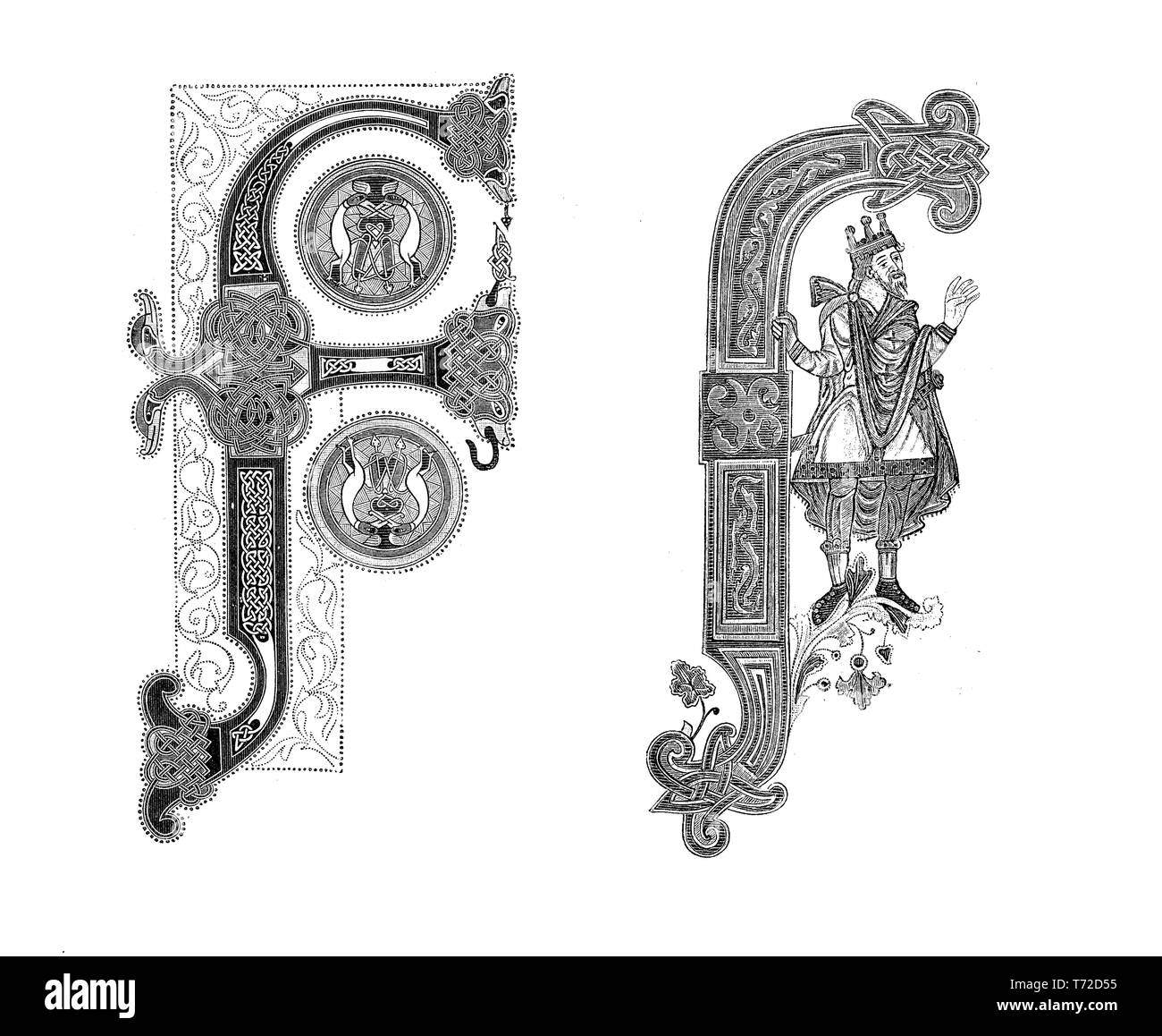 Two samples of capital F decorated letter in miniatures of the 9th century - Stock Image