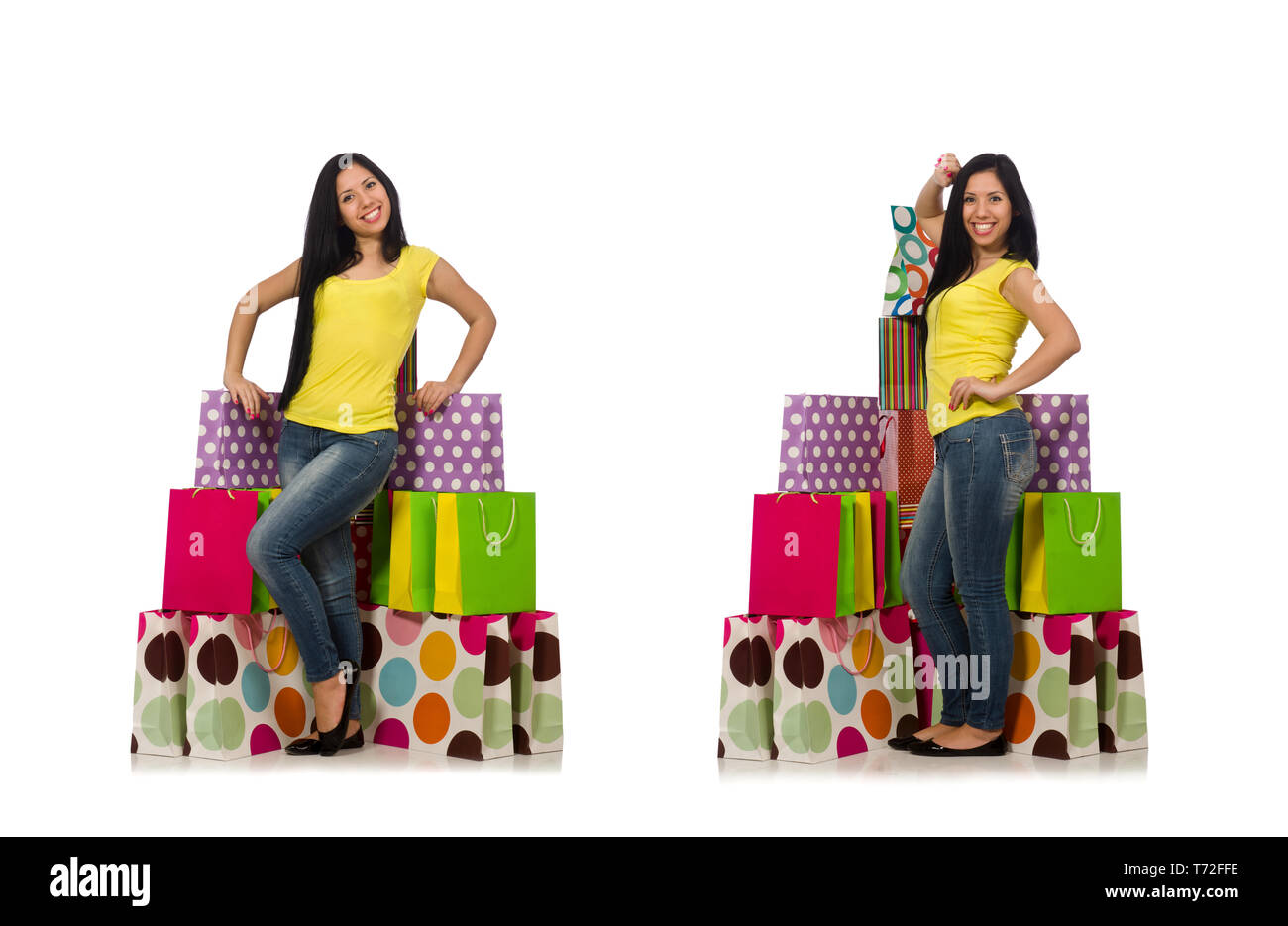 Woman with shopping bags isolated on white - Stock Image