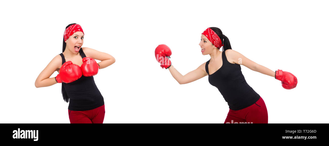 Woman boxer isolated on the white - Stock Image