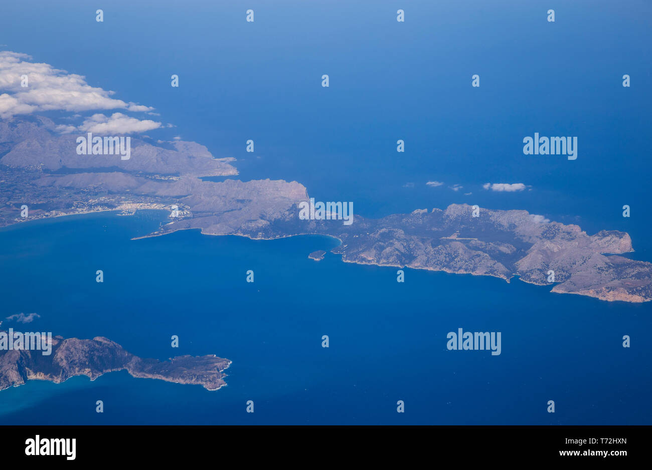An aerial view of Cap de Formentor in Mallorca, Spain Stock