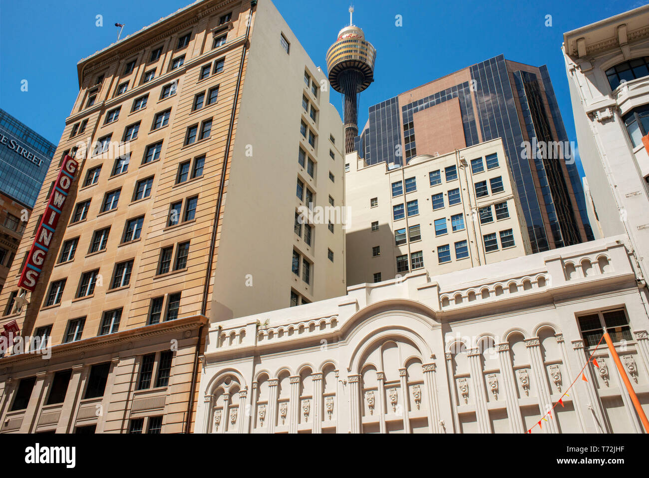 Sydney Tower Eye in Sydney city centre New South Wales Australia. Picture taken from Gowings and State Theatre Buildings in Market street city center. - Stock Image