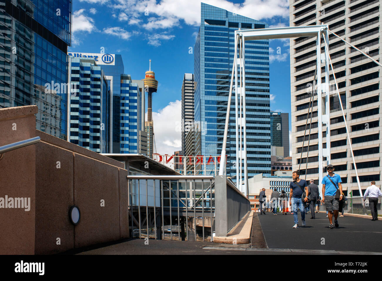 Sydney Tower Eye in Sydney city centre New South Wales Australia. Picture taken from Darling Harbour, Sydney, New South Wales, Australia - Stock Image