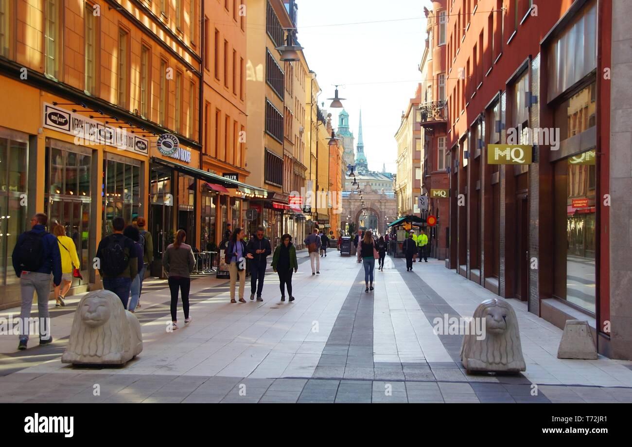 fcdc937ece08 Summer morning on the pedestrian street Drottninggatan Stock Photo ...