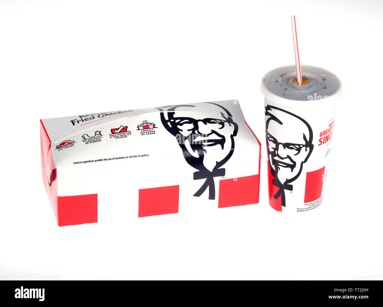 KFC Fill Up meal box with soda cup - Stock Image