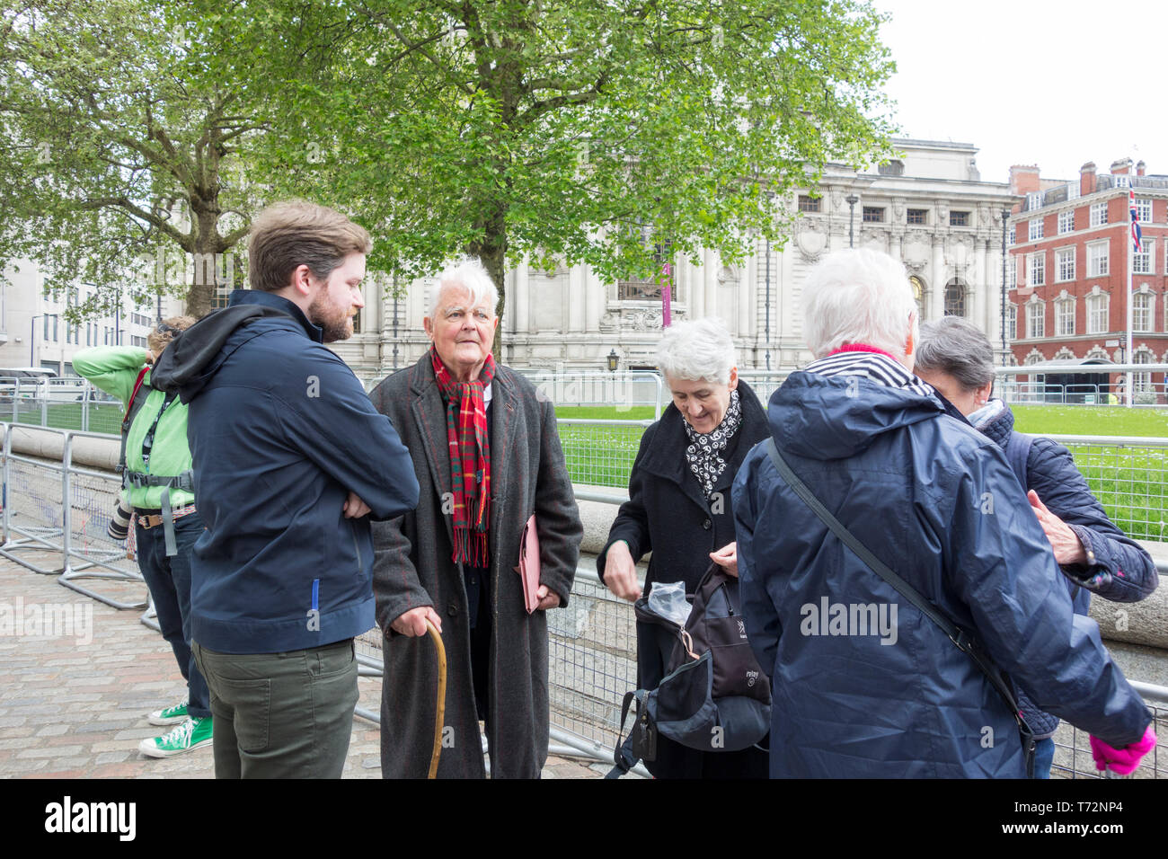 Bruce Kent at CND protest against Royal Navy National Service of Thanksgiving to mark 50 years of 'Continuous At Sea Deterrent' in Westminster Abbey. - Stock Image