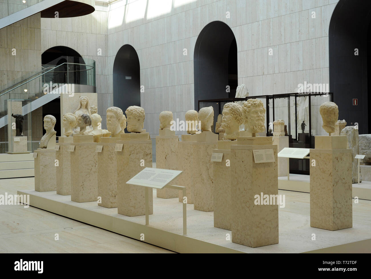 Spain. Madrid. National Archaeological Museum. Interior of a room with roman busts. - Stock Image