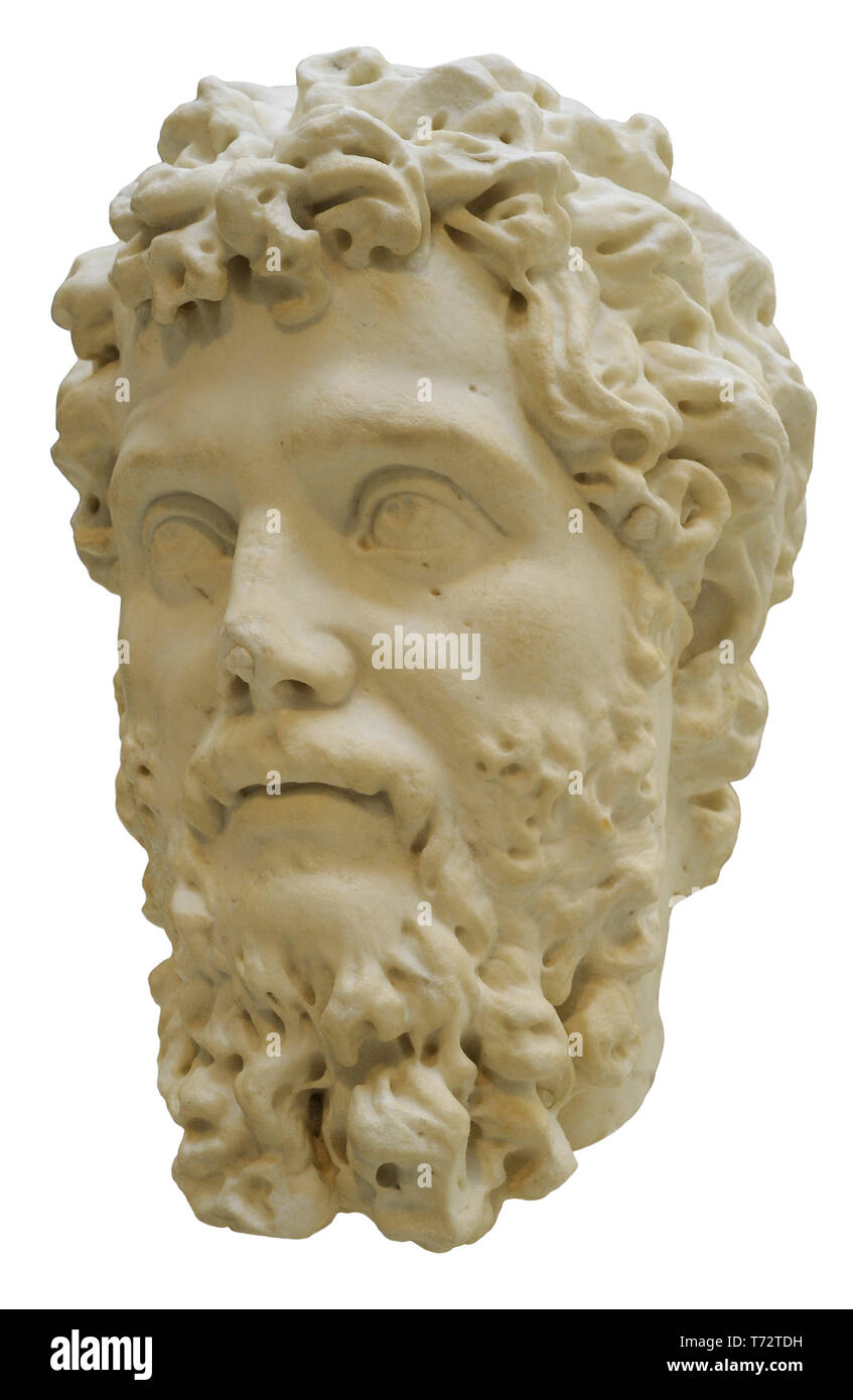 Septimius Severus (146-211). Roman emperor. Founder of Severan dynasty. Bust. 200-206 AD. Marble. National Archaeological Museum. Madrid. Spain. - Stock Image