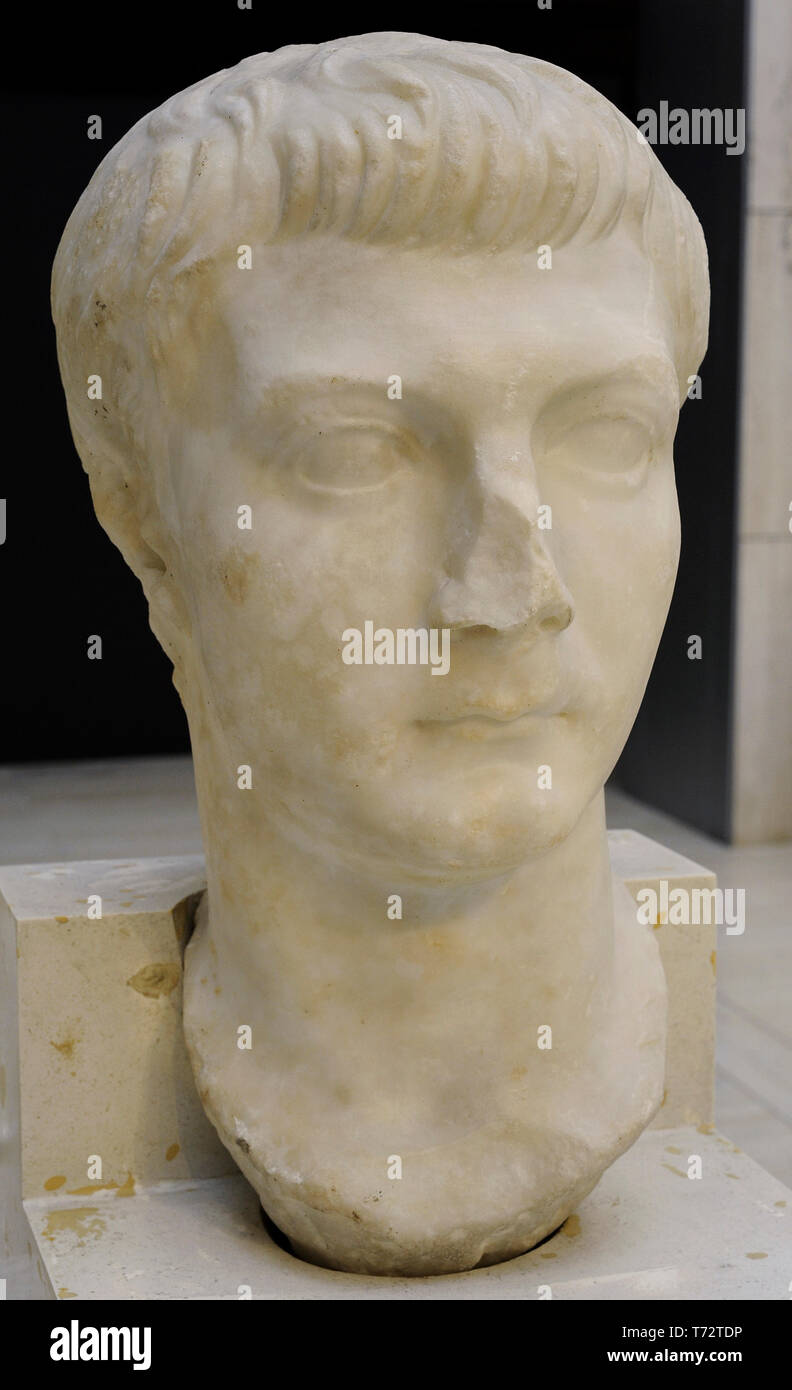 Drusus the Younger (14 BC-23 AD). Roman consul and Tribune of the Plebs. Bust. 20-27 AD. Marble. From Rome (Italy). National Archaeological Museum. Madrid. Spain. - Stock Image