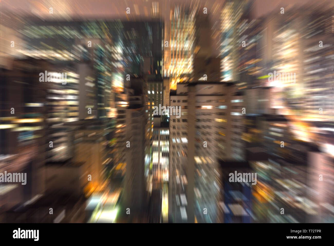 Big city at night with zoom effect - Stock Image