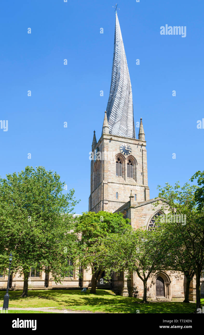 Church of St Mary and All Saints Chesterfield with a famous twisted spire Derbyshire England GB UK Europe - Stock Image