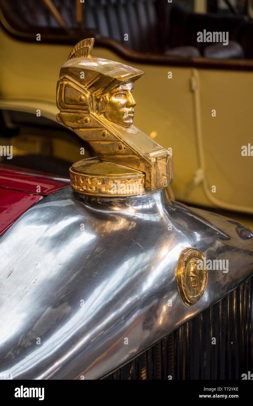 1930 Minerva AL Coupe Ostruck hood ornament / radiator cap / classic car mascot at Autoworld, vintage automobile museum in Brussels, Belgium - Stock Image