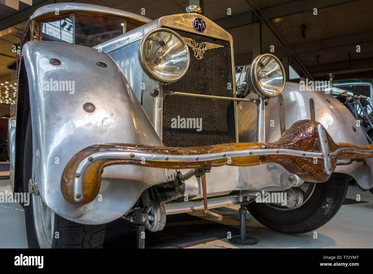 1930 FN 1400 S showing wooden front bumper of Belgian classic car / oldtimer at Autoworld, vintage automobile museum in Brussels, Belgium - Stock Image