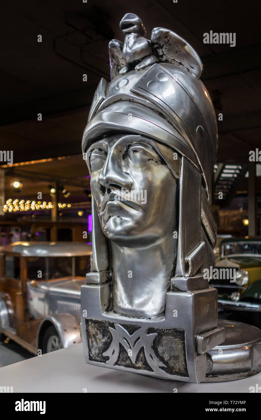 Enlarged version of the Minerva hood ornament / radiator cap / classic car mascot at Autoworld, vintage automobile museum in Brussels, Belgium - Stock Image