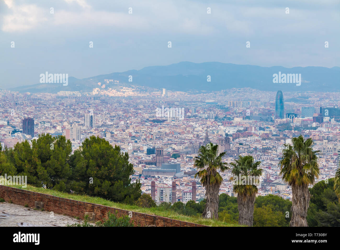 Aerial View Of The Barcelona City Behind Trees And Grass On The Background Of Mountains In Overcast Day Spain Stock Photo Alamy