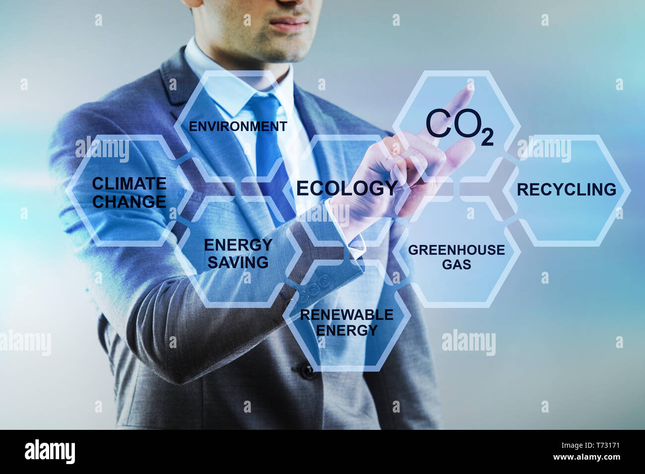 Businessman in ecology and environment concept Stock Photo