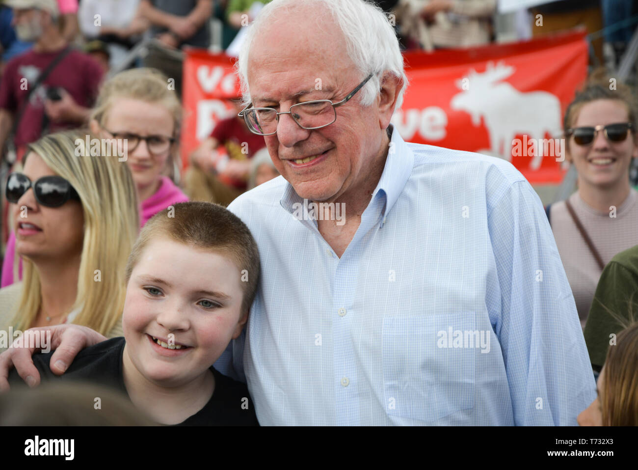 US Sen. Bernie Sanders, I-VT, at the 2017 Vermont Climate March Solidarity Rally, Vermont State House, Montpelier, VT. - Stock Image