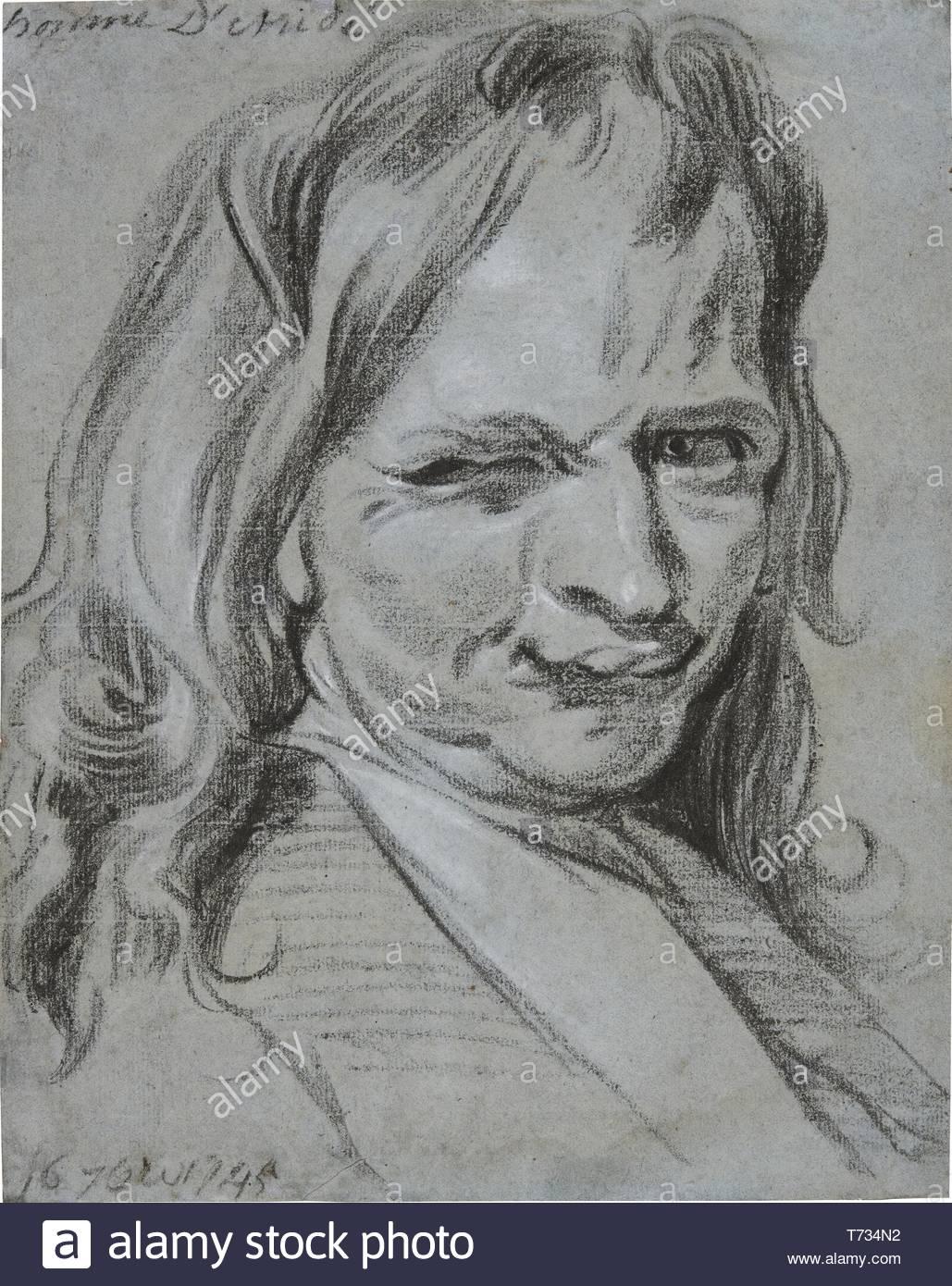 Jan Antoon Garemijn-Head And Shoulders Study Of A Grimacing Man - Stock Image