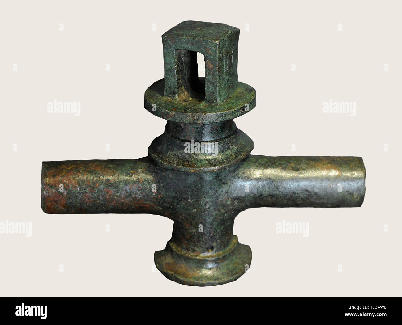 Water tap. 1st-2nd centuries AD. Bronze. National Archaeological Museum. Madrid. Spain. - Stock Image