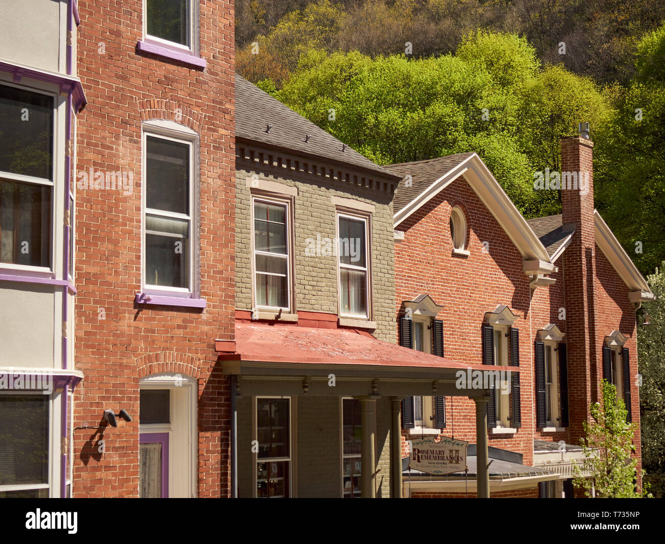 Row houses, sometimes called town houses, in the center of Jim Thorpe, Pennsylvania, USA - Stock Image