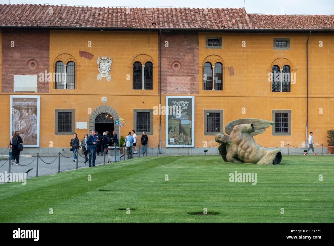PISA, TUSCANY/ITALY  - APRIL 17 : Fallen Angel at the Square of Miracles in Pisa Tuscany Italy on April 17, 2019. Unidentified people Stock Photo