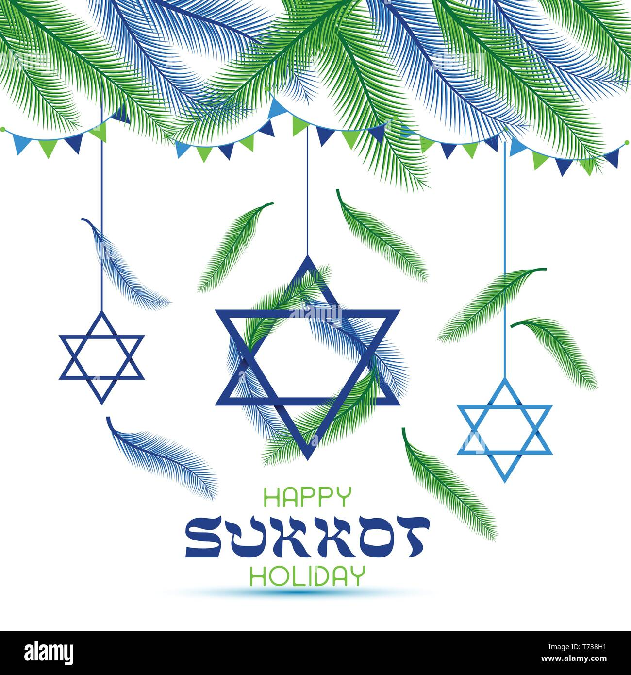 Happy Sukkot Holiday. Jewish Holiday Sukkot. Vector Jewish new year. Autumn Fest. Palm tree leaves frame. - Stock Vector