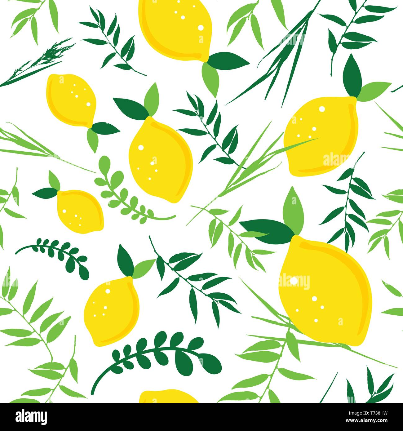 Happy Sukkot seamless pattern. Jewish holiday endless background. Repeating texture with plants. - Stock Vector