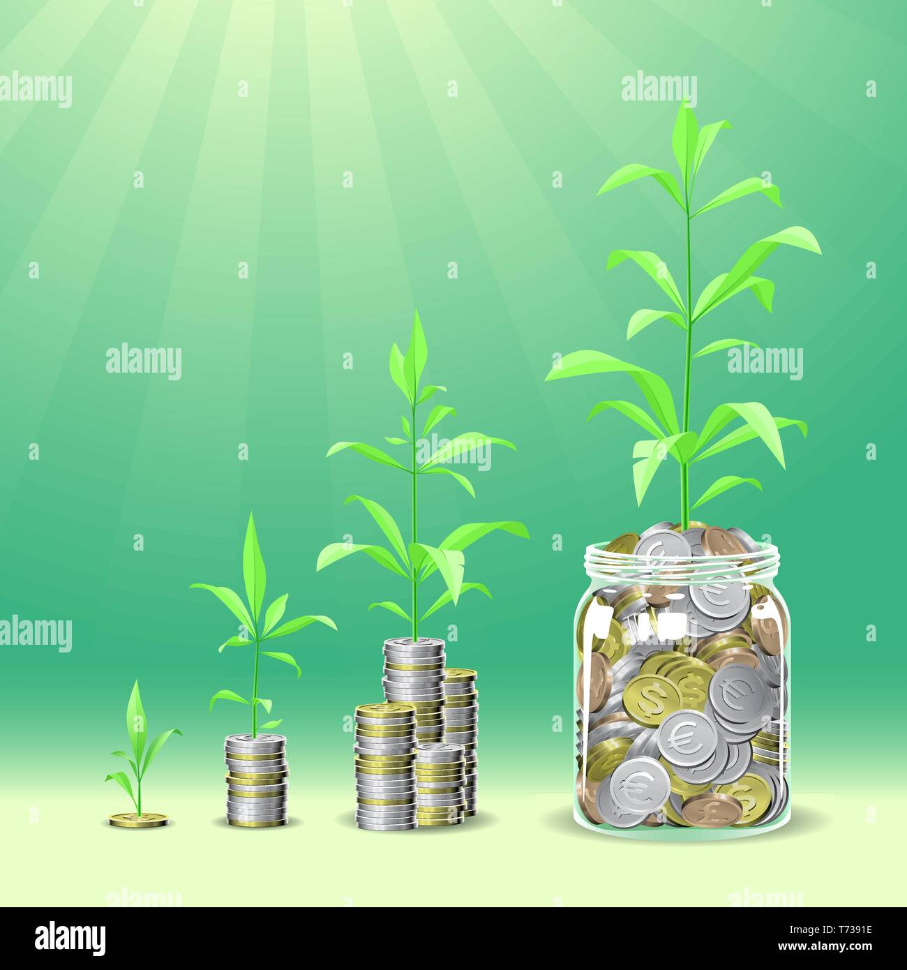 Coins stacks with a plants growing on the top. - Stock Vector