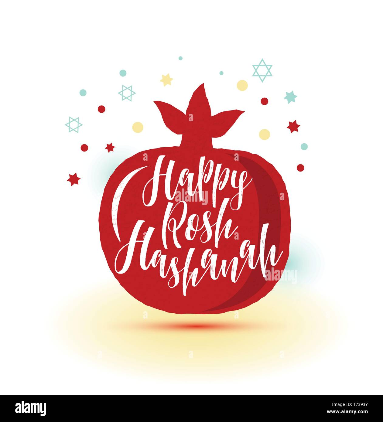 Greeting card wiyh symbol of Rosh Hashanah pomegranate . Jewish new year celebration design. Happy Shana Tova. - Stock Vector