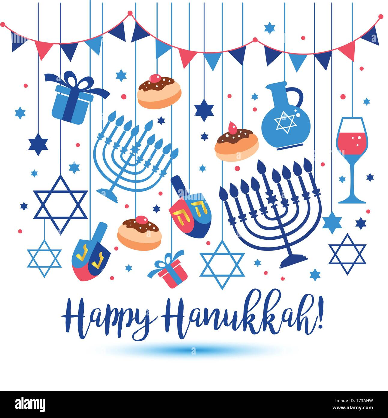 Jewish holiday Hanukkah greeting card traditional Chanukah symbols - wooden dreidels spinning top , Hebrew letters, donuts, menorah candles, oil jar,  - Stock Vector