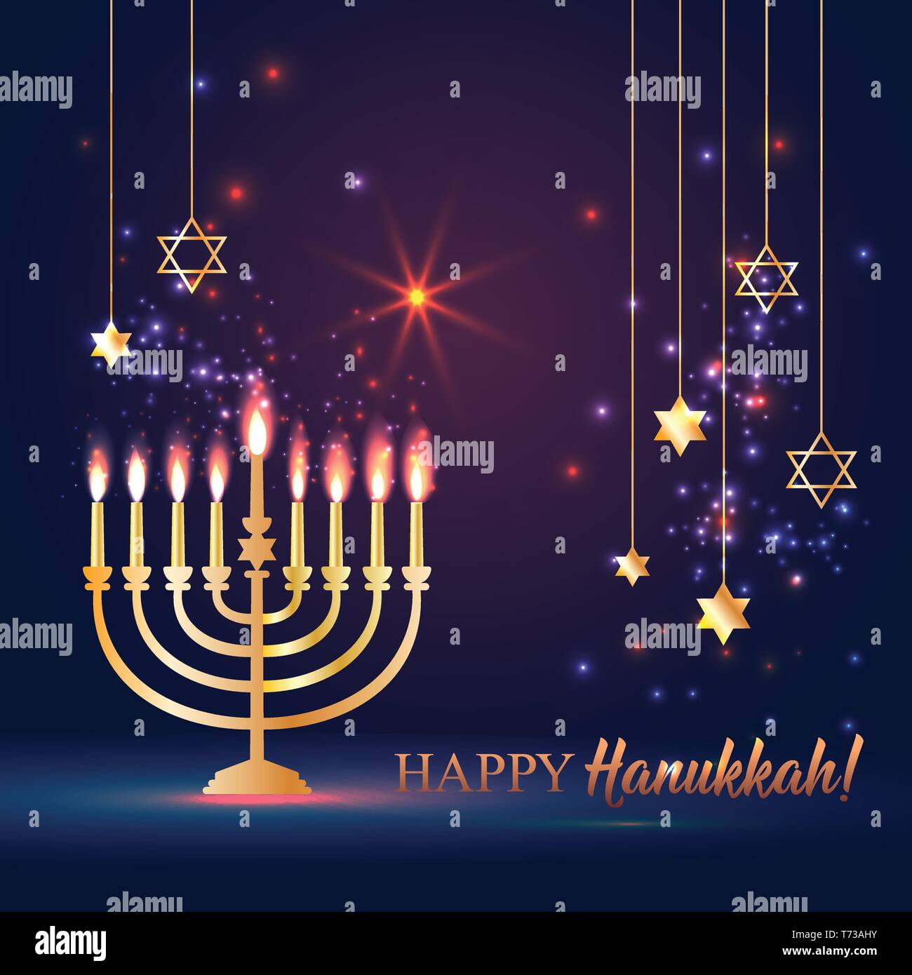 Happy Hanukkah Shining Background with Menorah, David Star and Bokeh Effect. - Stock Vector