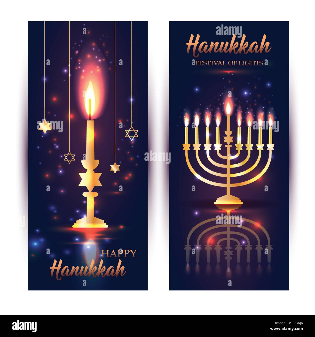 Happy Hanukkah Shining Background with Menorah, David Stars and Bokeh Effect. - Stock Vector