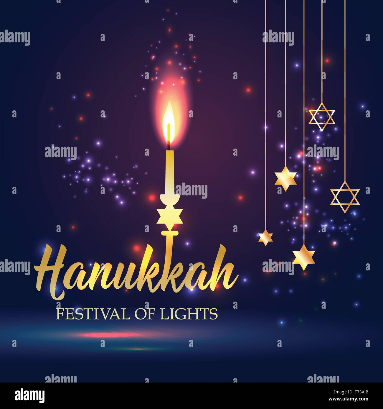 Happy Hanukkah Shining Background with candle, David Star and Bokeh Effect. - Stock Vector