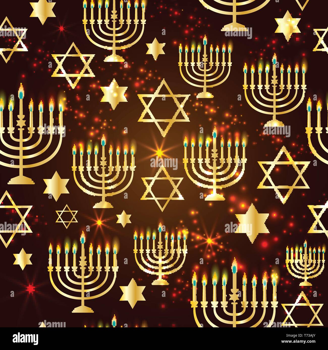 Happy Hanukkah Shining Background with Menorah, David Star and Bokeh Effect. Seamless pattern. - Stock Vector
