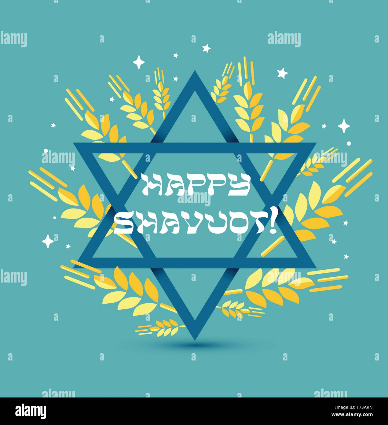 Happy Shavuot. Judaic holiday. Greeting card of Israel. Vector illustration with congratulation in a frame of wheat spikelets with blue star of David. - Stock Vector